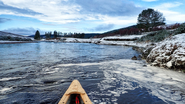 Canoeing on the River Brora in winter