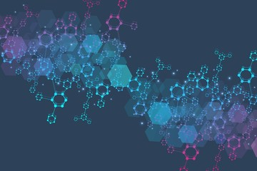 Hexagonal abstract background. Big Data Visualization. Global network connection. Medical, technology, science background. Vector illustration. Wall mural