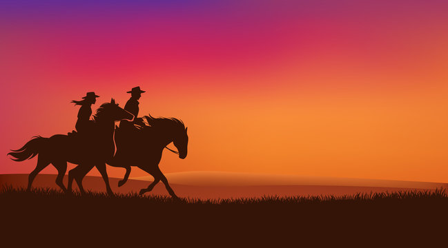 cowgirl and cowboy riding horses in romantic sunset prairie field - wild west rangers vector silhouette design