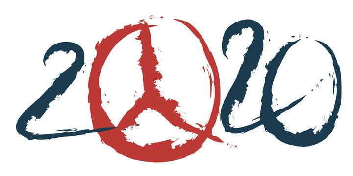 2020 sous le signe de la paix en utilisant le signe hippie symbole de paix et d'amour, à la place du zéro
