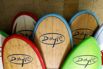 Doyle surfboards manufactured in China are shown at the company's warehouse in Lake Forest, California