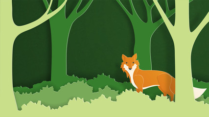 Paper art craft wild fox in the forest. Vector illustration in paper cut style. Design for wallpaper, backdrop, cover, template, poster, postcard, card.
