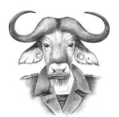 Fototapete - Hand drawn dressed up anthropomorphic buffalo