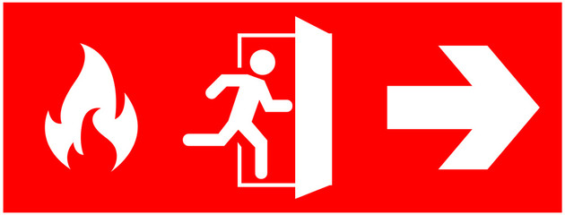 emergency fire exit sign. running man icon to door. Red color. arrow vector. warning sign plate