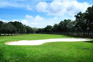 golf course or green grass field in urban public park