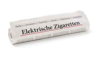Zeitungsrolle mit der Überschrift Elektrische Zigaretten