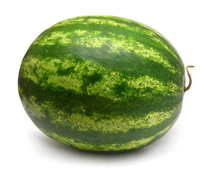 Whole watermelon isolated on white background. Top view, flat lay
