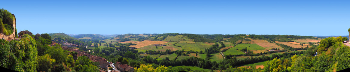 Great panoramic view of the valley from the village of Cordes-sur-Ciel, favorite village of the French, in Occitania (South of France)