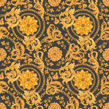 Golden baroque rich luxury vector pattern