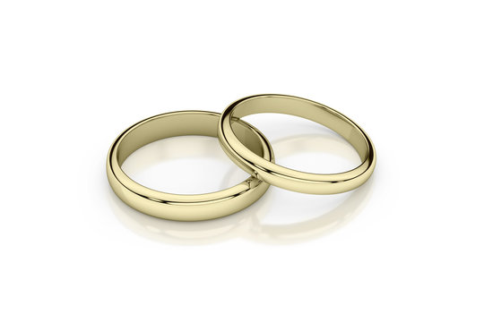 Jewelry wedding band yellow gold rings on glossy white background. 3d rendering