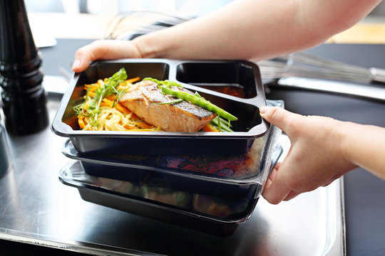 Catering. Appetizing lunch boxes. Food delivered to your doorstep