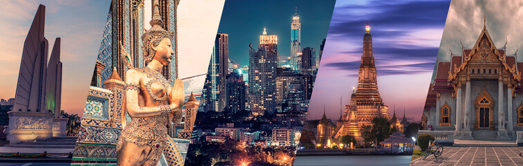 Bangkok city famous landmarks collage.