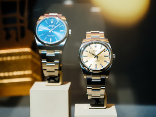 Barcelona, Spain - Jun1 1, 2018: Modern new last collection of luxury wrist Swiss watch manufactured by Rolex model in the official store distributor store showcase in central Barcelona