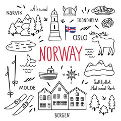 Norway hand drawn outline vector symbols and illustrations on white background. Travel elements and icons. Visit Norway set with nature landscapes and architecture