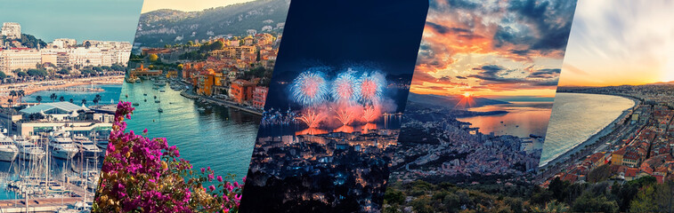 Photo sur Plexiglas Nice French Riviera photos collage.