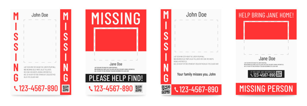 Missing person poster Help to find placard template
