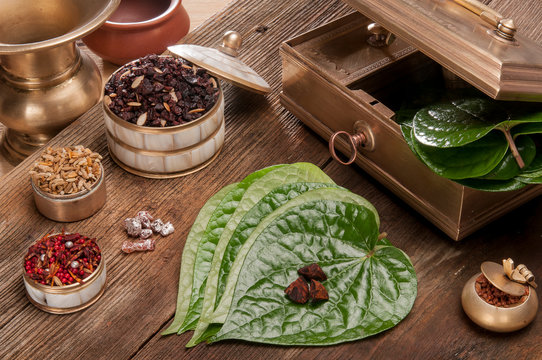 Paan leaf and betel nut