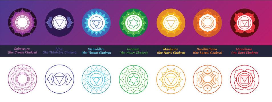 Chakra Symbols Set (Fill and line art)