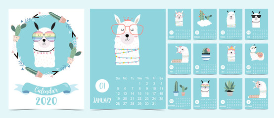Doodle pastel 2020 calendar set with llama,alpaca,cactus for children.Can be used for printable graphic.Editable element