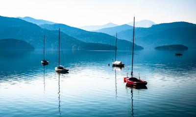 sailboats at the walchensee lake in germany
