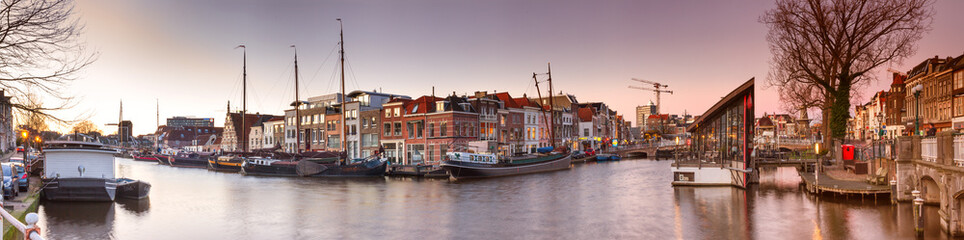 Cityscape, panorama, banner - view of city channel with ships, the city of Leiden, Netherlands. Fototapete