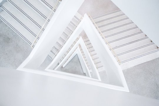 Wide shot of a white abstract architectural building
