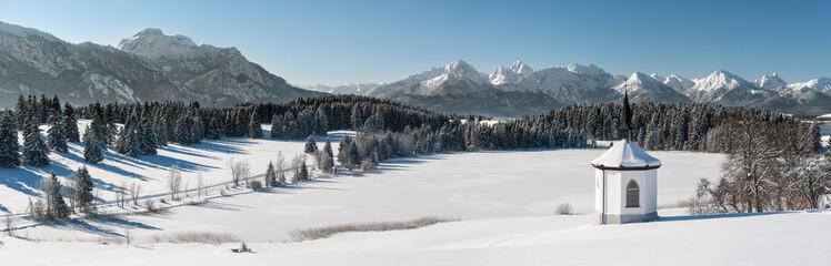 panoramic scene at winter in Bavaria, Germany
