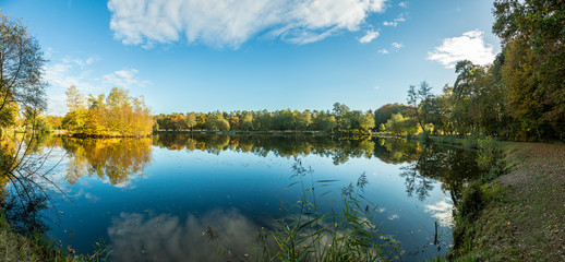 Panorama picture of lake in Gundwiesen recreation area close to Frankfurt airport