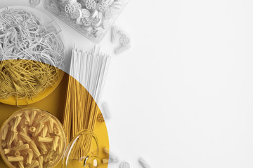 Yellow brush strokes on a monochrome image of pasta and spaghetti on a white background. Creative conceptual illustration with copy space. Coloring of black and white image. 3D rendering.