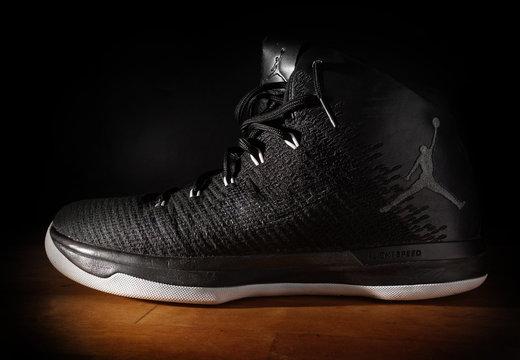 RALEIGH,NC/USA - 12-13-2018: Nike Air Jordan FlightSpeed basketball sneakers on dark background