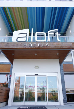 DURHAM,NC/USA - 10-23-2018: Entrance to the Aloft boutique hotel in downtown Durham, NC