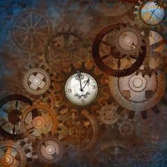 Fully Decorated Steampunk Gears Background