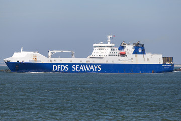 MAASVLAKTE, THE NETHERLANDS - June 25, 2018: SUECIA SEAWAYS outbound Rotterdam. DFDS Seaways is a large Danish shipping company operating passenger and freight services across Northern Europe.