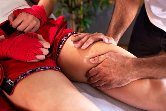 Upper thigh sports massage therapy, muscle regeneration