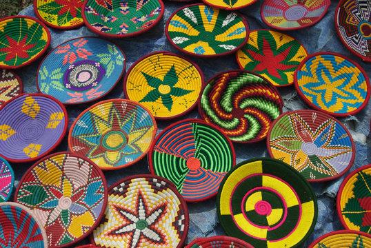 Ethiopia: Tigray Region, Axum, woven baskets