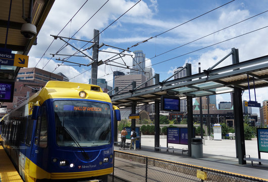Lightrail in downtown Minneapolis Minnesota