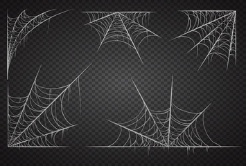 Cobweb set, isolated on black transparent background. Spiderweb for halloween, spooky, scary, horror decor