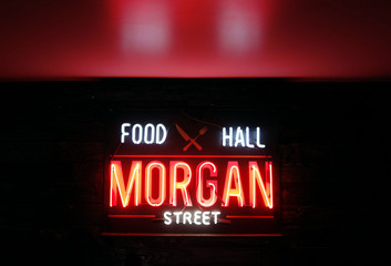 RALEIGH,NC/USA - 8-24-2018: Morgan Street Food Hall neon sign in downtown Raleigh, a food hall serving a variety of foods from various vendors in an indoor/outdoor environment