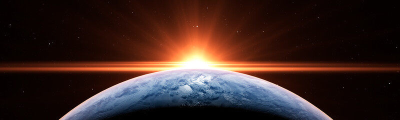 Acrylic Prints Sunset Sunrise over the planet Earth concept with a bright sun and flare and city lights panoramic