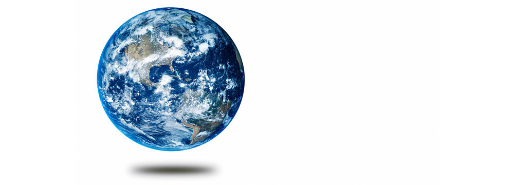 Earth planet concept hovering on a white background showing America panoramic
