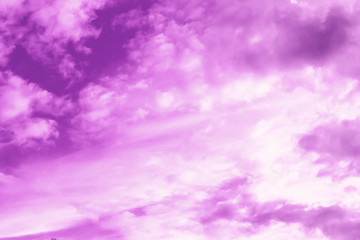 Purple sky and white cloudy background. Beautiful and bright colors.