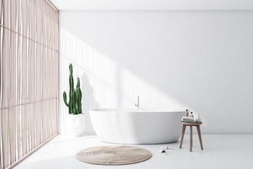 White and light wood bathroom interior with tub Fototapete
