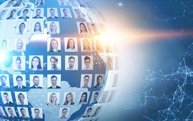 Social media concept in global world