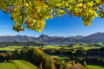 panoramic landscape in Bavaria at autumn