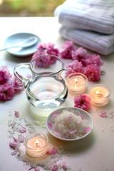 Totes Meer Badesalz, Sakura, Handtücher und Kerzen