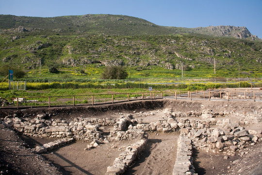 Ancient archeological finds from Biblical times at Magdala Archaeological Park on the bank of the Sea of Galilee, Israel.