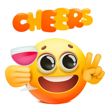 Cheers emoticon card with yellow emoji cartoon character holding glass of wine