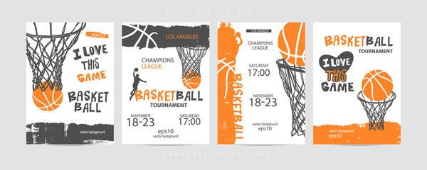 Collection of basketball designs on a white background, grunge style, sketch, lettering. Hand drawing. Sports print, cover, slogan, template, sports covers, basketball hoop. EPS file is layered.