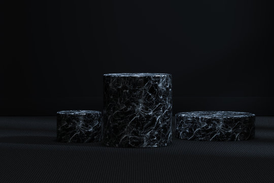 The marble cylinder platform in the dark room, 3d rendering