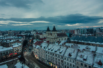 Aluminium Prints Eastern Europe Winter sunset in Ivano-Frankivsk